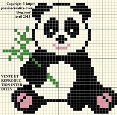 Grille gratuite point de croix : Petit panda