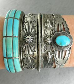 Turquoise and sterling silver cuff bracelets