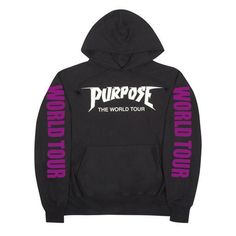 Purpose PARIS Purple The World Tour -Black Hoodie 8dbd93c92f
