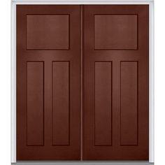 Milliken Millwork 66 in. x 81.75 in. 3 Panel Shaker Painted Fiberglass Smooth Exterior Double Door, Redwood