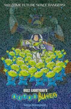 Welcome Future Space Rangers Buzz Lightyear& Astro Blasters Tokyo Disneyland This metallic postcard features Emperor Zurg, Buzz Lig. Walt Disney Movies, Disney Movie Posters, Disney Rides, Cartoon Posters, Original Movie Posters, Disney Toys, Disney Art, Old Movie Posters, Vintage Disney Posters