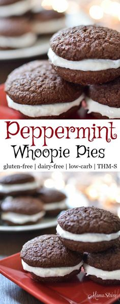 Easy to make Peppermint Whoopie Pies, perfect for Christmas time. Makes me think of Thin Mints and candy canes. Gluten-Free, Dairy-Free, Sugar-Free, Low-carb, THM-S