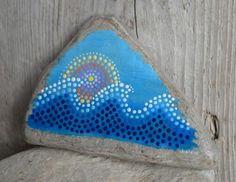 Painted limestone, painted stones, painted rocks, pointillism, rock art, waves, sunset art,