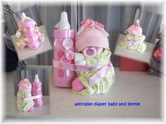 Baby Shower Diaper Baby & Cake by thecraftersgarden on Etsy Bricolage Baby Shower, Baby Shower Unique, Bebe Shower, Unisex Baby Gifts, Baby Shower Crafts, Diy Bebe, Baby Shower Diapers, Diaper Shower, Diaper Cakes