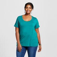 Women's Plus Size Perfect Tee Windward Green 4X - Ava & Viv