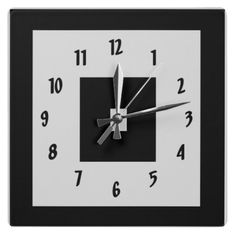 Black and White Squares Square Wall Clocks