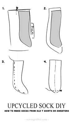 Make socks from tshirts and sweaters for someone in need.  Upcycled sock DIY - #socktober