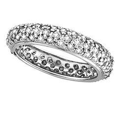 Pave Set Eternity Diamond Ring Band in 14K White Gold (1.58 ctw)