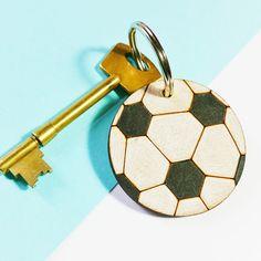 Football Keyring  Footballer Gift  Gift for him  Wooden