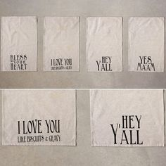 Cotton Hand Towel With Southern Sayings, Set of 4