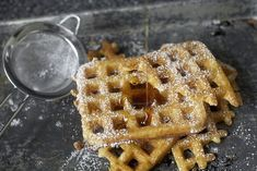spend 5 minutes mixing this batter tonight, go to sleep and wake up to the best waffles in the world. The aroma is that of freshly baked challah, the texture something of a crisp, airy souffle and the flavor is something of a malty croissant