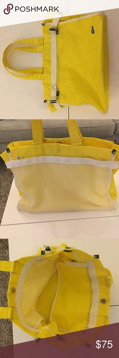 Lacoste Small Tote Medium sized yellow Lacoste tote bag.  Tons of pocket space and designed on the go.  White mesh detailing adds to the sporty look.  Gently used.  The handles have slight smudges  but in great condition! No tears or holes.  Parting with this piece because I haven't carried it in years and want to find this bag a home! 💖 Lacoste Bags Totes