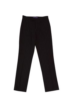 Ralph Lauren Collection- Brown & Tan Pinstripe Wool Trousers Sz 4 | Current Boutique