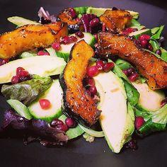 Autumn Arugula Salad with Caramelized Squash, Spiced Pecans and Pomegranate Ginger Vinaigrette | My Creative Twist