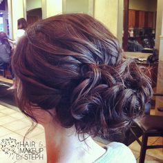 Updo created from an a-line bob.