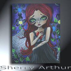 Big Eye Girl Broken Heart Original Artwork Size 16 x 20 On