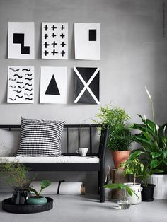 [Black, white and grey decor details] Ikea Inspiration, Interior Design Inspiration, Interior Plants, Room Interior, Ikea Plants, Simple Wall Art, Easy Wall, Ikea Living Room, Ikea Home