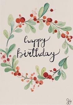 home yazs Geburtstagskarte Handmade Birthday Cards, Happy Birthday Cards, Diy Birthday, Birthday Wishes, Watercolor Birthday Cards, Birthday Card Drawing, Watercolor Cards, Karten Diy, Diy Wedding Bouquet