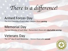 Know the difference: Armed Forces Day, Memorial Day, Veterans Day defined. Military Holidays, Labor Day, Memorial Day Quotes, Army Mom, Support Our Troops, Military Life, Military Veterans, Military Quotes, Military Service
