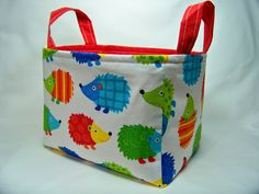 PK Fabric Basket in Hedgehogs on White - Ready To Ship - Washable - Reversible by PKStuff on Etsy