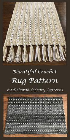 Crochet Rug and Placemat Pattern  Easy Pattern - Bulky Yarn by Deborah O'Leary Pattern #crochet #rug #nursery #deboraholearypatterns