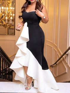 Fashion Black And White Ruffled Wrapped Chest Evening Dress – Ratecute Latest African Fashion Dresses, African Dresses For Women, African Attire, Dinner Gowns, Elegant Dresses For Women, Mode Outfits, Classy Dress, Evening Dresses, Party Dress