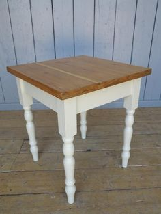 Reclaimed Plank Top Farmhouse Table - Ready for Dispatch. The table top was made from reclaimed planks and the bas is painted in Farrow & Ball Old White.