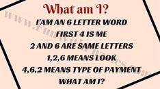 English Word Riddles with Answers Word Riddles, What Am I Riddles, Funny Riddles, Riddles With Answers, Word Puzzles, Word Brain Teasers, Brain Teasers For Kids, 6 Letter Words, Letters