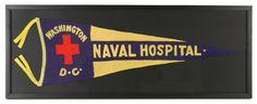 "1917-19 WW1 Washington DC Naval Hospital 14"" x 38"" Framed Felt Pennant"