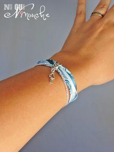 """Bracelet rubans liberty vague arabesque camaïeu de bleu clef argenté et chaîne """"Vague"""" : Bracelet par ni-oui-ninouche"""
