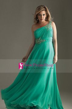 pretty Chiffon Prom Dresses princess A One shoulder Floor length with aqpplique