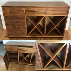 Solid Blackwood timber buffet with wine rack & push to open drawers