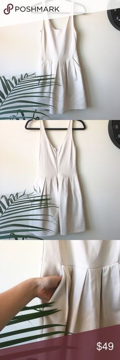 """Wilfred aritzia pompe dress Beautiful Wilfred pompe tank dress two sides pockets and a zipper back. Adorable pleads around the waistline. Excellent used condition. Bust: 15"""" length:34"""" Feel free to ask me any questions and check out my closet for 20% off!! Wilfred Dresses"""