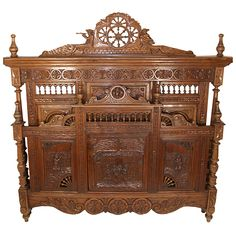Hand Heavily Carved Walnut Brittany Bed, Head, Foot & Rails   France   Circa 1890