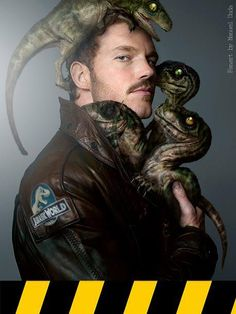 Owen (Chris Pratt) and his baby raptors #JurassicWorld