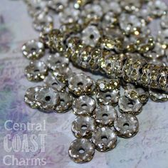 8 mm Aged Silver Czech Champagne Yellow Rhinestone Rondelle Spacers