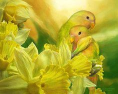 Love Among The Daffodils by Carol Cavalaris - Mixed Media