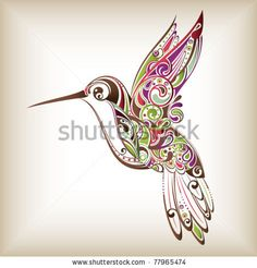 stock vector : Hummingbird. This would make such a pretty tattoo to honor my grandparents.