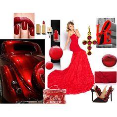 Red dress.