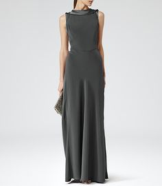 Womens Pewter High Neck Maxi - Reiss Montana