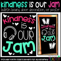Kindness is Our Jam Bulletin Board, Door Decor, or Poster - sylvia Easy Bulletin Boards, Reading Bulletin Boards, Winter Bulletin Boards, Preschool Bulletin Boards, Bullentin Boards, Classroom Door, Music Classroom, Classroom Themes, Space Classroom
