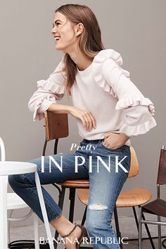 Our newest arrivals are here—layer on chic new styles for fall. The Superloft Ruffle-Sleeve Sweater is made of a soft wool blended with cashmere. The dramatic ruffles and soft pink hue will make this a fall favorite. Exclusively at Banana Republic. SHOP NOW