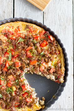 Savory Italian Tart - great for breakfast, lunch or dinner, this egg, cheese and sausage filled tart is filling and packed with flavor!