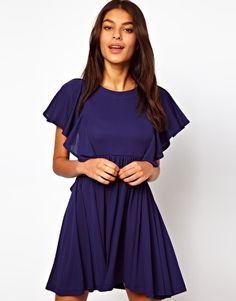Image 1 ofASOS Dress with Frill Sleeve in Crepe
