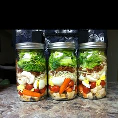 just pic no link; cobb salad mason jar, pasta salad. Just layer with dressing on bottom and veg on top, shake then eat