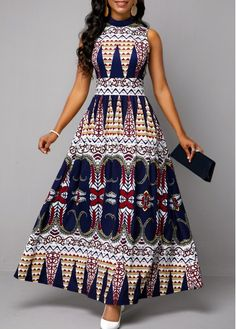 Tribal Print Mock Neck Sleeveless Dress on sale only US$34.69 now, buy cheap Tribal Print Mock Neck Sleeveless Dress at liligal.com