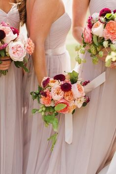 photo: Michele M. Waite Photography; chic bridesmaid dresses and bouquets ideas