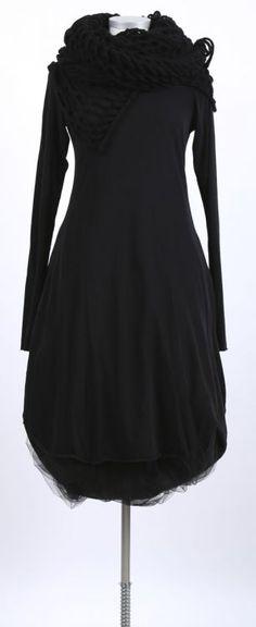 rundholz - Kleid mit Falte Stretch Langarm black - Sommer 2015 - stilecht - mode für frauen mit format...