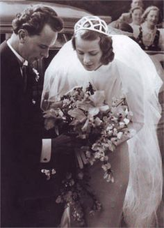 Ingrid Bergman for her wedding to Petter Lindstrom in 1937