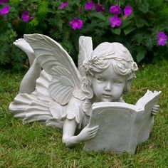 Fairy Laying Down Reading A Book - Garden Ornaments, Statues